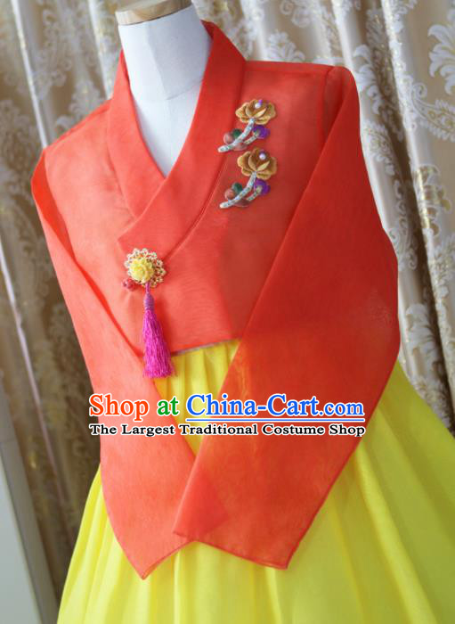 Korean Traditional Garment Hanbok Orange Blouse and Yellow Dress Outfits Asian Korea Fashion Costume for Women