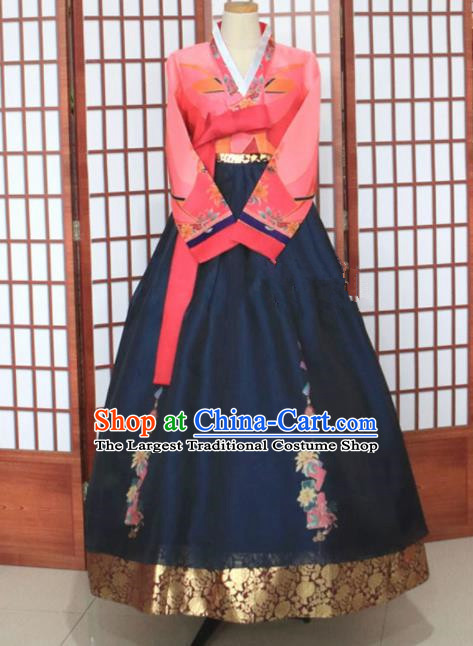 Korean Traditional Garment Hanbok Pink Blouse and Navy Dress Outfits Asian Korea Fashion Costume for Women
