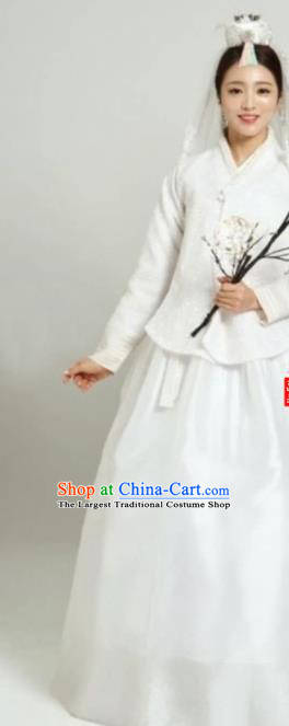 Korean Traditional Bride Garment Hanbok White Blouse and Dress Outfits Asian Korea Fashion Costume for Women
