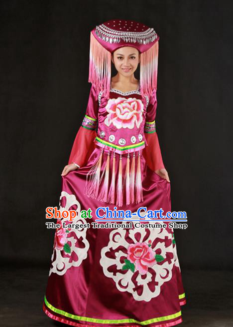 Chinese Traditional Zhuang Nationality Wine Red Dress Ethnic Minority Folk Dance Stage Show Costume for Women