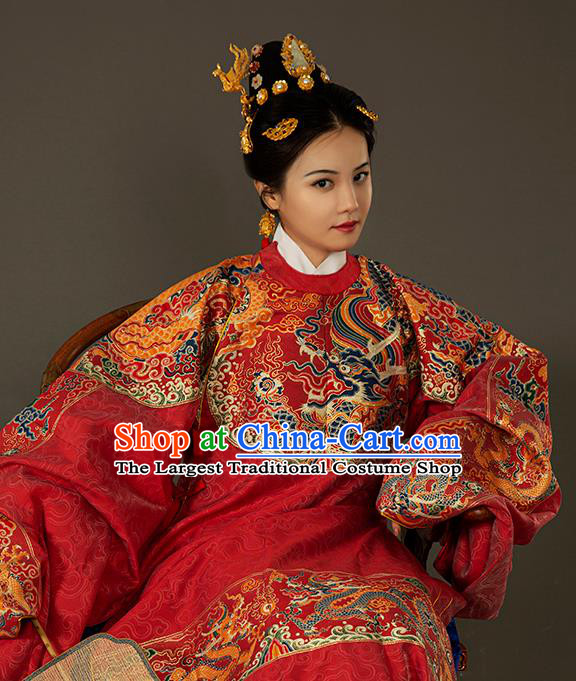 Traditional Chinese Ming Dynasty Royal Queen Red Embroidered Dress Ancient Court Empress Costumes for Women