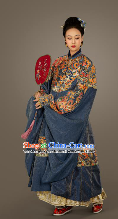 Traditional Chinese Ming Dynasty Court Countess Blue Embroidered Dress Ancient Royal Queen Costumes for Women