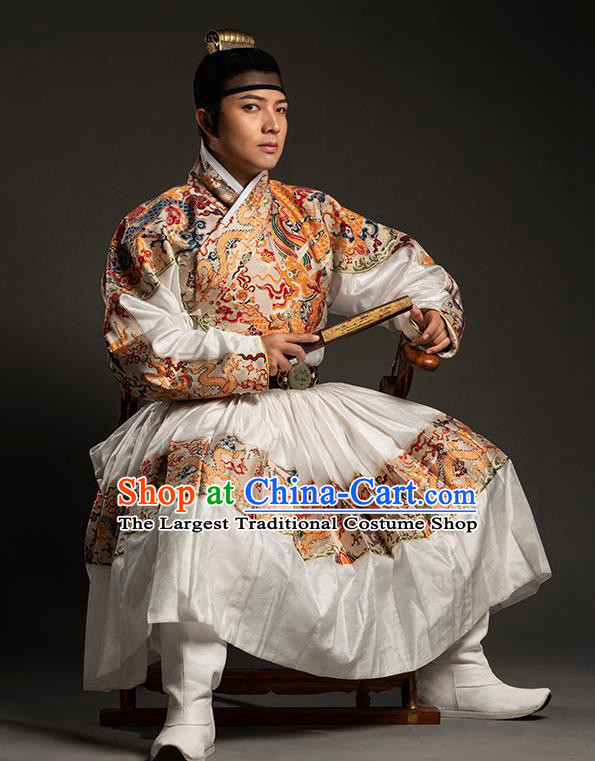 Traditional Chinese Ming Dynasty King White Embroidered Robe Ancient Imperial Emperor Costumes for Men