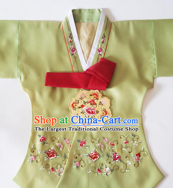 Korean Traditional Court Hanbok Garment Embroidered Peony Olive Green Blouse Asian Korea Fashion Costume for Women