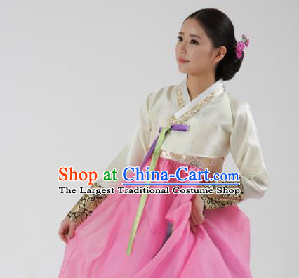 Korean Traditional Bride Hanbok White Blouse and Pink Dress Garment Asian Korea Fashion Costume for Women