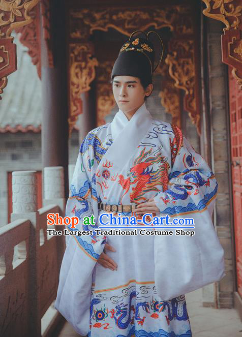 Chinese Traditional Ming Dynasty Emperor White Robe Ancient Blades Swordsman Costumes for Men