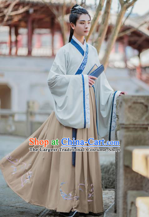 Chinese Traditional Jin Dynasty Scholar Hanfu Clothing Ancient Swordsman Costumes for Men