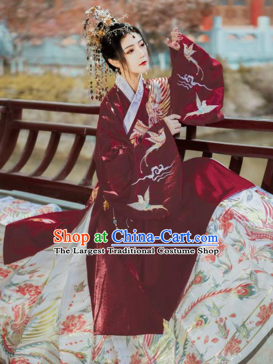Chinese Traditional Ming Dynasty Princess Wedding Red Coat and White Skirt Ancient Imperial Concubine Embroidered Costumes for Women