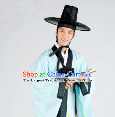 Korean Traditional Ancient Scholar Blue Robe and Pants Hanbok Asian Korea Bridegroom Fashion Costume for Men