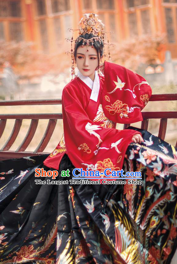 Chinese Traditional Ming Dynasty Princess Red Brocade Blouse and Skirt Ancient Palace Lady Costumes for Women