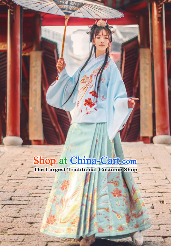Chinese Traditional Ming Dynasty Nobility Lady Blue Brocade Blouse and Skirt Ancient Palace Princess Costumes for Women