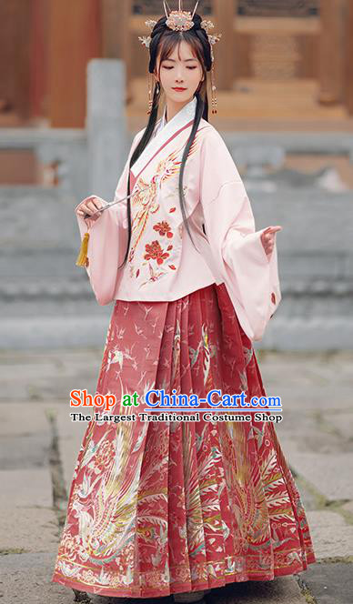 Chinese Traditional Royal Pink Brocade Blouse and Red Skirt Ancient Ming Dynasty Nobility Lady Costumes for Women