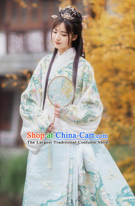 Chinese Traditional Hanfu White Brocade Blouse and Blue Skirt Ancient Ming Dynasty Court Princess Costumes for Women