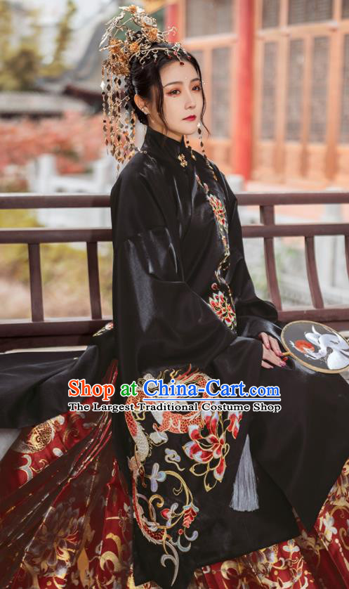Chinese Traditional Court Black Brocade Long Blouse and Skirt Ancient Ming Dynasty Imperial Consort Costumes for Women