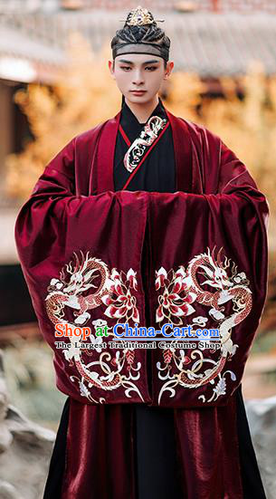 Chinese Traditional Jin Dynasty Scholar Red Cape Ancient Royal Prince Costumes for Men
