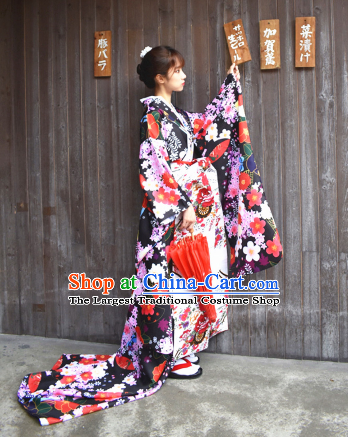 Classical Asian Japan Clothing Japanese Fashion Apparel Printing Furisode Kimono Costume Complete Set for Women
