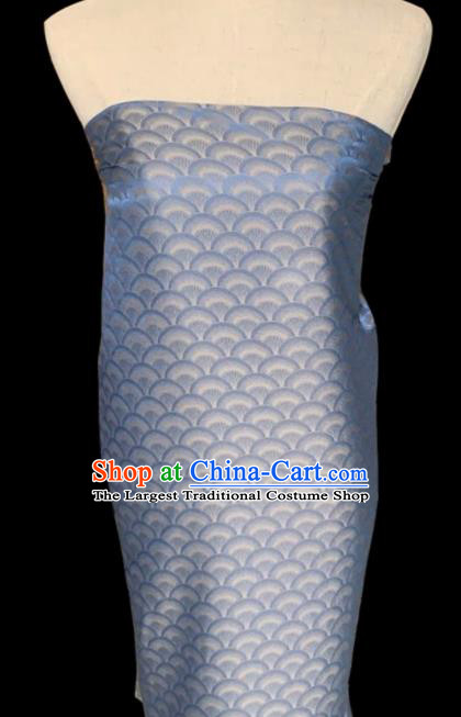 Asian Chinese Classical Scale Pattern Design Blue Brocade Jacquard Fabric Traditional Cheongsam Silk Material
