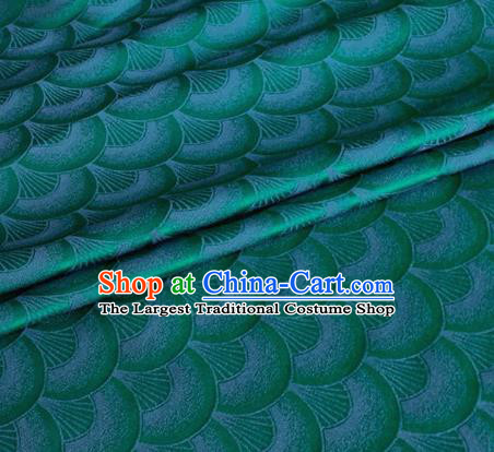 Asian Chinese Classical Scale Pattern Design Green Brocade Jacquard Fabric Traditional Cheongsam Silk Material