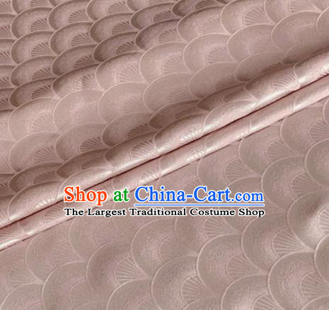 Asian Chinese Classical Scale Pattern Design Light Pink Brocade Jacquard Fabric Traditional Cheongsam Silk Material