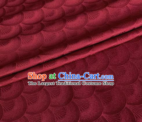 Asian Chinese Classical Scale Pattern Design Wine Red Brocade Jacquard Fabric Traditional Cheongsam Silk Material