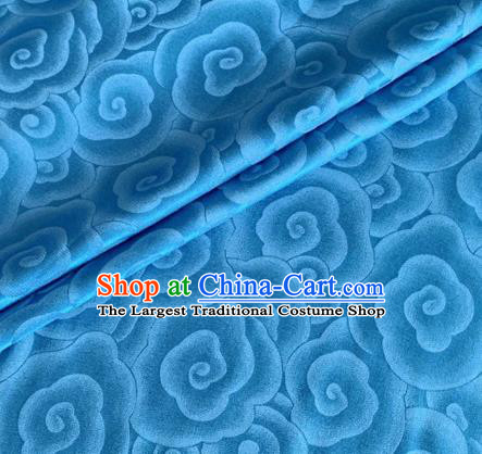 Asian Chinese Classical Clouds Pattern Design Blue Brocade Jacquard Fabric Traditional Cheongsam Silk Material