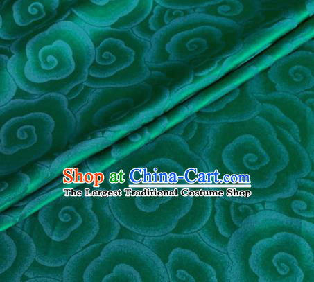 Asian Chinese Classical Clouds Pattern Design Green Brocade Jacquard Fabric Traditional Cheongsam Silk Material