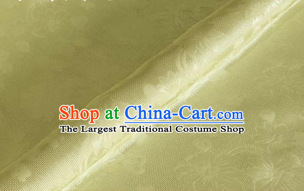 Asian Chinese Classical Flowers Pattern Design Yellow Brocade Jacquard Fabric Traditional Cheongsam Silk Material