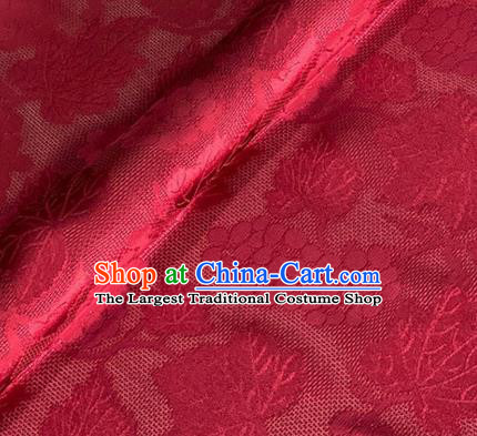 Asian Chinese Classical Maple Leaf Grape Pattern Design Wine Red Brocade Jacquard Fabric Traditional Cheongsam Silk Material