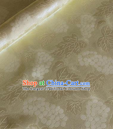 Asian Chinese Classical Maple Leaf Grape Pattern Design Yellow Brocade Jacquard Fabric Traditional Cheongsam Silk Material