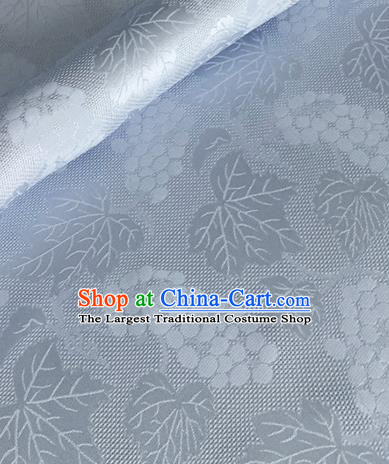 Asian Chinese Classical Maple Leaf Grape Pattern Design Light Blue Brocade Jacquard Fabric Traditional Cheongsam Silk Material