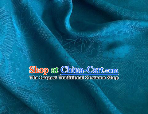 Asian Chinese Classical Maple Leaf Grape Pattern Design Deep Blue Brocade Jacquard Fabric Traditional Cheongsam Silk Material