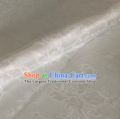 Asian Chinese Classical Peony Butterfly Pattern Design White Brocade Jacquard Fabric Traditional Cheongsam Silk Material