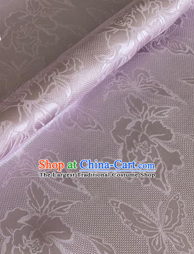 Asian Chinese Classical Peony Butterfly Pattern Design Light Purple Brocade Jacquard Fabric Traditional Cheongsam Silk Material