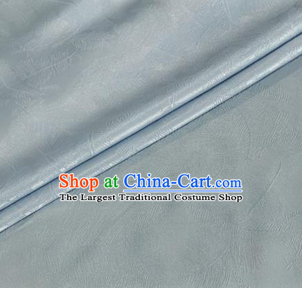 Asian Chinese Classical Feather Pattern Design Light Grey Brocade Jacquard Fabric Traditional Cheongsam Silk Material