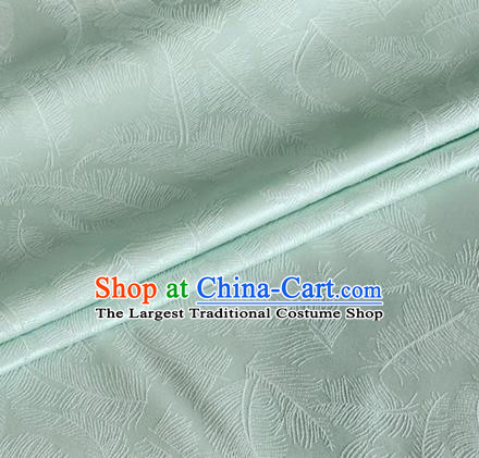 Asian Chinese Classical Feather Pattern Design Pea Green Brocade Jacquard Fabric Traditional Cheongsam Silk Material