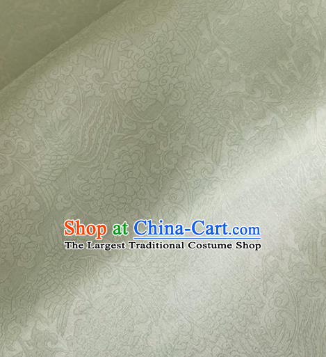Asian Chinese Classical Phoenix Peony Pattern Design Light Green Organza Jacquard Fabric Traditional Cheongsam Silk Material