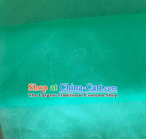 Asian Chinese Classical Peacock Feather Pattern Design Green Organza Jacquard Fabric Traditional Cheongsam Silk Material