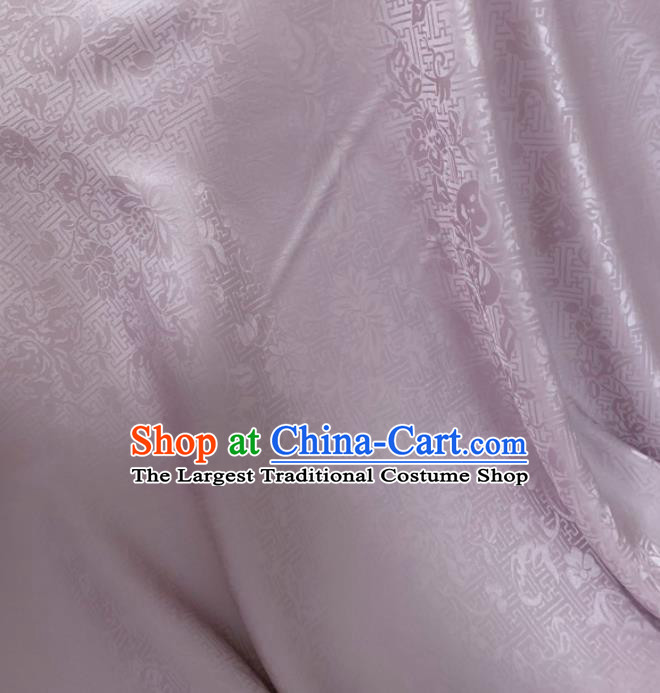 Asian Chinese Classical Lotus Pattern Design Lilac Jacquard Fabric Traditional Silk Material