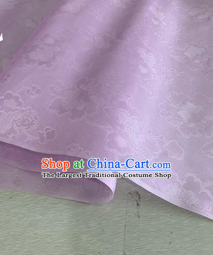 Asian Chinese Classical Peony Pattern Design Light Purple Jacquard Fabric Traditional Cheongsam Silk Material