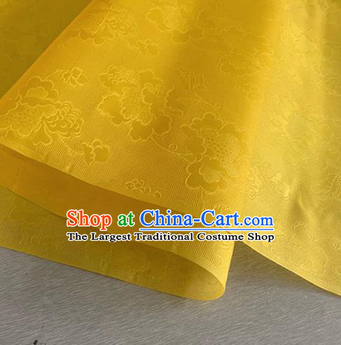 Asian Chinese Classical Peony Pattern Design Yellow Jacquard Fabric Traditional Cheongsam Silk Material