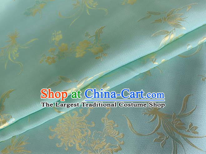 Asian Chinese Classical Plum Orchid Bamboo Chrysanthemum Pattern Design Light Blue Jacquard Fabric Traditional Cheongsam Silk Material