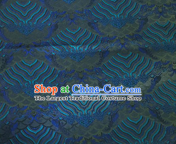 Asian Chinese Classical Wave Cliff Pattern Design Blue Brocade Jacquard Fabric Traditional Cheongsam Silk Material