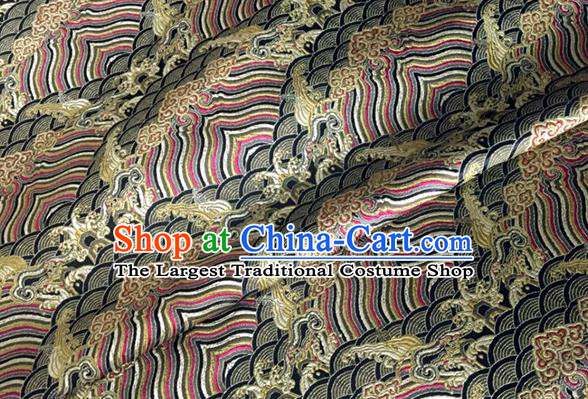Asian Chinese Classical Wave Cliff Pattern Design Black Brocade Jacquard Fabric Traditional Cheongsam Silk Material