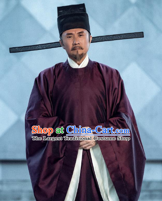 Traditional Chinese Ancient Song Dynasty Head of the Secretariat Drama Royal Nirvana Li Baizhou Costumes and Hat for Men