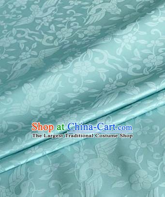 Asian Chinese Classical Birds Pattern Design Light Blue Brocade Jacquard Fabric Traditional Cheongsam Silk Material