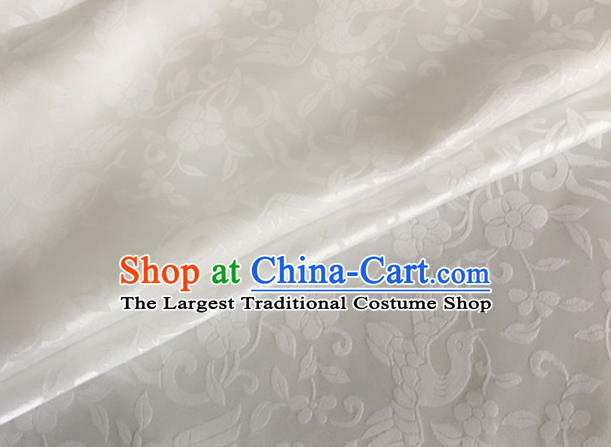 Asian Chinese Classical Birds Pattern Design White Brocade Jacquard Fabric Traditional Cheongsam Silk Material