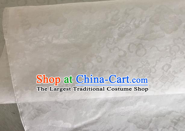 Asian Chinese Classical Auspicious Clouds Pattern Design White Brocade Jacquard Fabric Traditional Cheongsam Silk Material