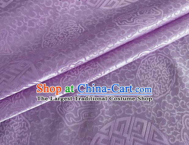 Asian Chinese Classical Longevity Pattern Design Lilac Brocade Jacquard Fabric Traditional Cheongsam Silk Material