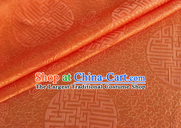 Asian Chinese Classical Longevity Pattern Design Orange Brocade Jacquard Fabric Traditional Cheongsam Silk Material