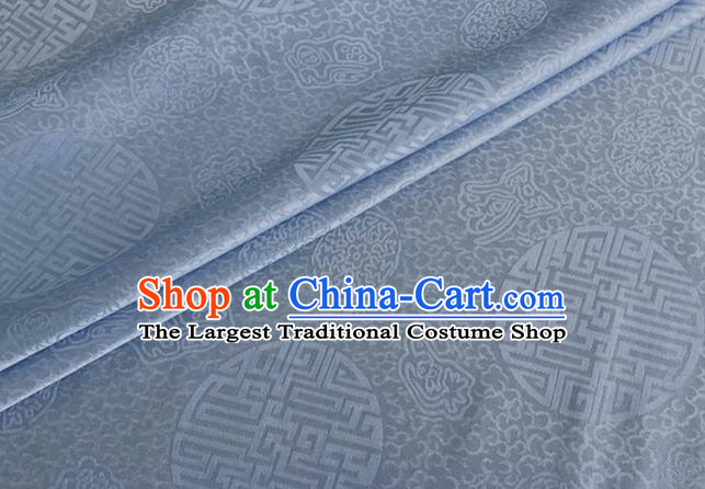 Asian Chinese Classical Longevity Pattern Design Light Blue Brocade Jacquard Fabric Traditional Cheongsam Silk Material